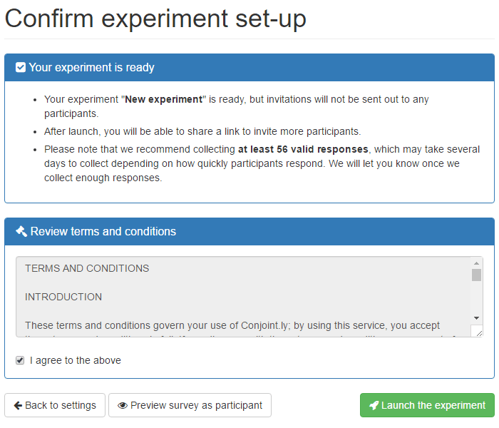 Review and confirm your experiment
