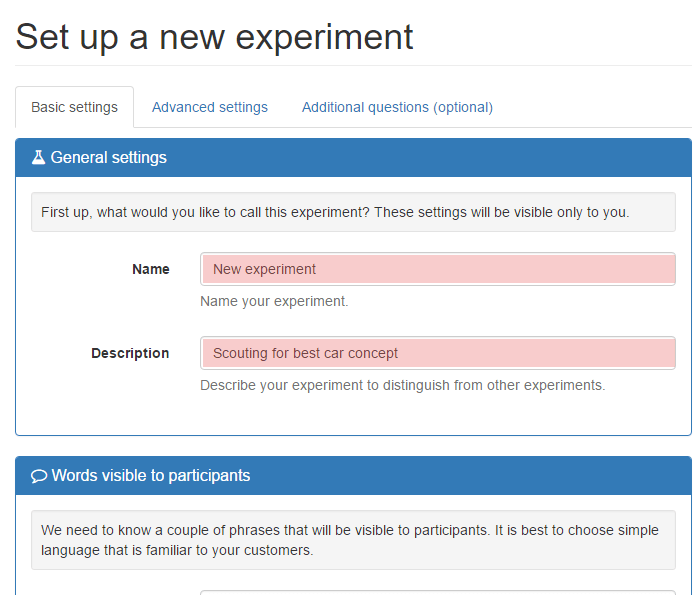 Name and describe your experiment
